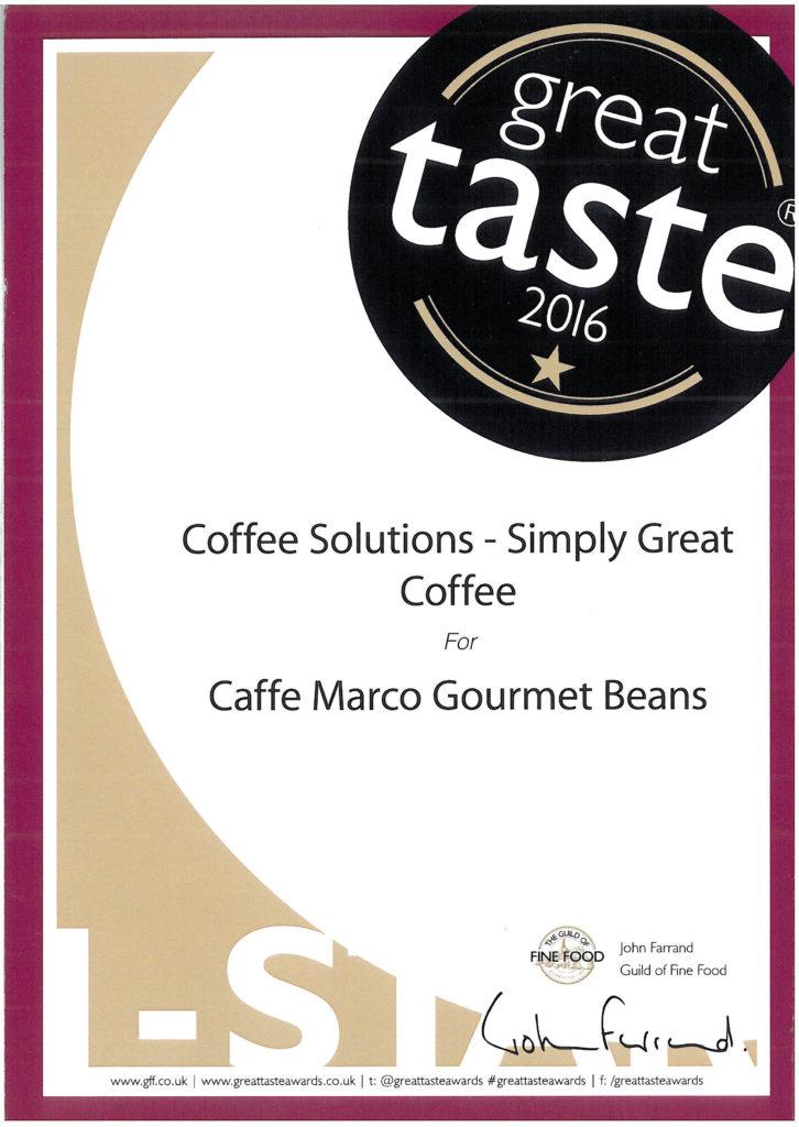 Great Taste Award Certificate Caffe Marco Gourmet Beans